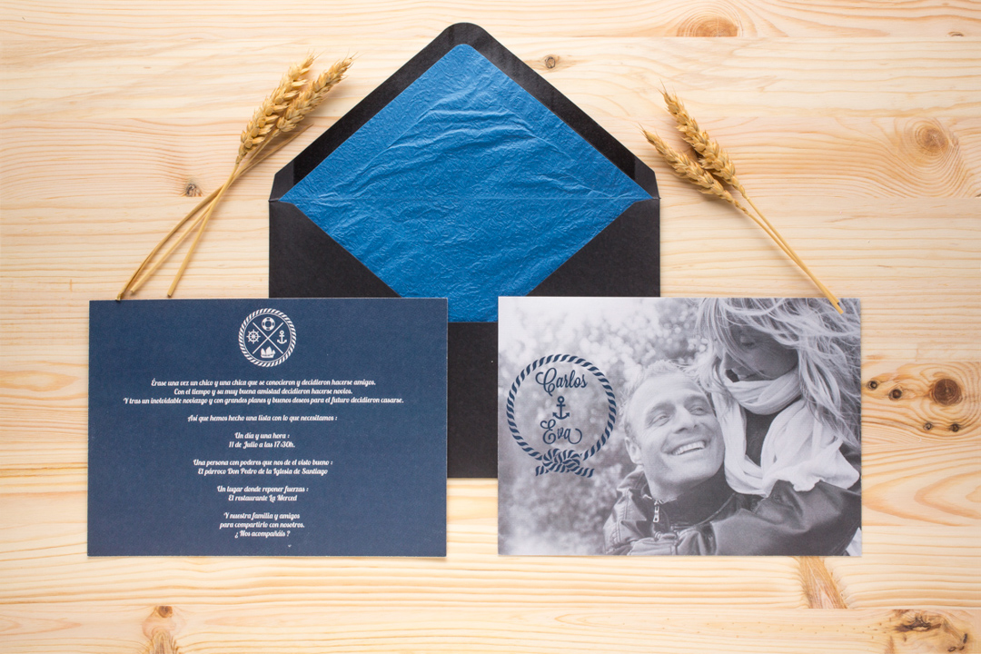 invitación de boda marinera